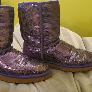 Purple sequined UGG boots